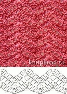 Open Lacy Ripple Stitch - Free Crochet Diagram - (knitplanet) by LuEllen Bateman