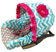 pink and aqua baby bedding | Catalog > Turquoise Chevron Grey Dot/Hot Pink Infant Car Seat Cover