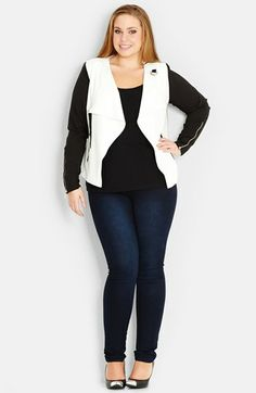 City Chic Two Tone Buckle Tab Jacket (Plus Size) available at #Nordstrom