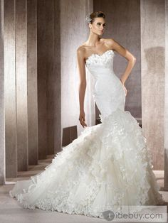 Gorgeous Trumpet/Mermaid Strapless Floor-Length Court Tiered Wedding Dress