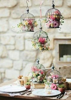 Browse our shabby chic wedding inspiration gallery, filled with ideas for the perfect shabby chic wedding. Shabby chic centerpieces, decorations and more. Wedding Centerpieces, Wedding Decorations, Table Decorations, Birdcage Centerpieces, Vintage Centerpieces, Floral Decorations, Centerpiece Ideas, Table Centerpieces, Deco Floral