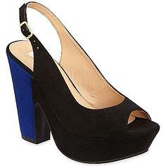 02257993e973b black and blue chunky slingback heels