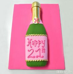 Sculpted Champagne Bottle 21st Birthday Cake by Beverly's Bakery