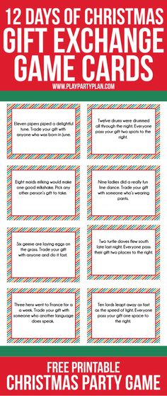 EVGENIA GL CHRISTMAS GIFT Love this fun twist on traditional gift exchange games! Free printable cards inspired by the 12 days of Christmas to use for swapping gift exchange gifts and some even some fun gift ideas if you need some ideas.