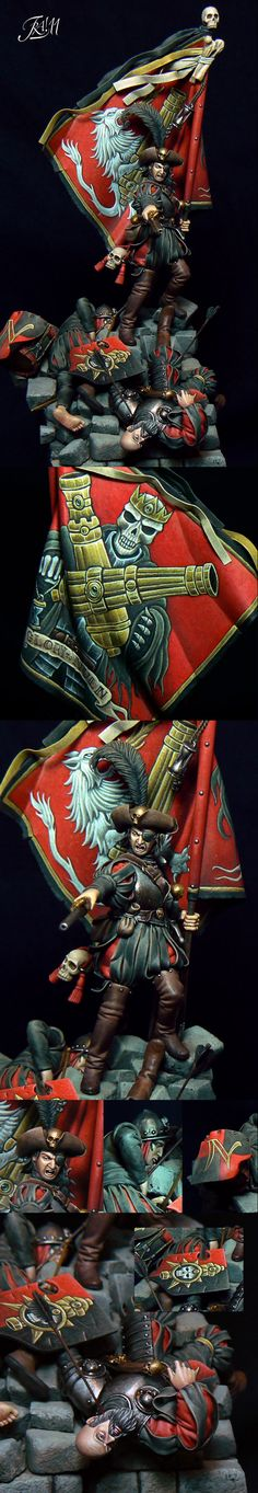 Last Stand of Nuln (Gold Diorami - italian GD (details). Amazing detail, I love the shields and flag so much. Warhammer Empire, Warhammer Figures, Warhammer Art, Warhammer Models, Warhammer Fantasy, Fantasy Battle, Fantasy Warrior, High Elf, Fantasy Miniatures