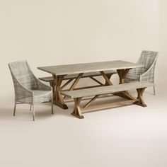 Our outdoor dining collection is fit for a sizeable soiree. It features an extra-long dining table and a dining bench, both crafted of acacia wood with a two-tone finish, and a pair of all-weather wicker side chairs to complete the rustic look. www.worldmarket.com #WorldMarket Outdoor Entertaining