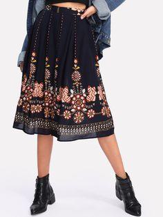 SHEINBotanical Print Flare Skirt