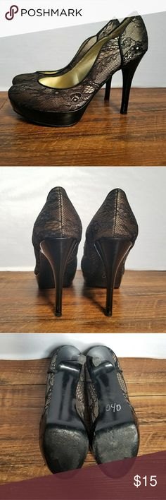 Guess Lace Heels Elegant Black lace and gold heel. Small snag and scrape in front as shown in picture. Guess Shoes Heels