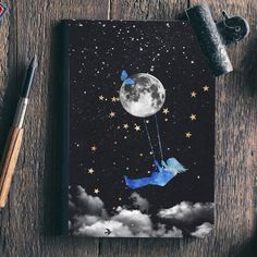 Informations About Dreamer Bullet Journal, Bujo Journal, bujo notebook, personalized bullet Journal, Space Painting, Acrylic Painting Canvas, Painting & Drawing, Canvas Art, Moon Painting, Black Paper Drawing, Bullet Journal Art, Inspiration Art, Art Sketchbook