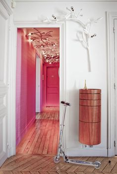 Pink Walls and Doors in the Hallway