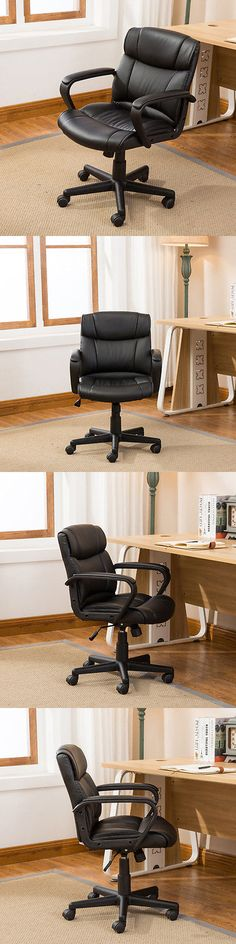 Chairs 54235: Ergonomic Pu Leather Mid-Back Executive Computer Desk Task Office Chair, Black -> BUY IT NOW ONLY: $55.99 on eBay!