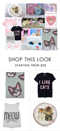 """Crazy Cat Lady"" by liz-wade ❤ liked on Polyvore featuring Markus Lupfer, Cotton Candy, cute, cats, pastel and kawaii"