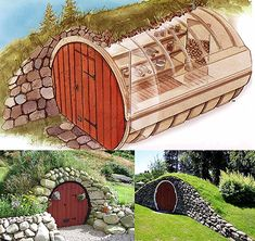 hobbit hole root cellars cellar Instant Access to Woodworking Plans and Projects - TedsWoodworking Casa Bunker, Shed Conversion Ideas, Root Cellar, Wine Cellar, Underground Homes, Earth Homes, Earthship, Play Houses, The Hobbit
