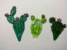 Fused glass home decor. Gift for cactus lover. Fused Glass Jewelry, Fused Glass Art, Dichroic Glass, Glass Cactus, Glass Birds, Glass Fusion Ideas, Glass Fusing Projects, Stained Glass Angel, Glass Garden Art