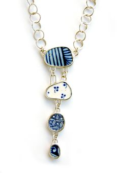 Pottery shard necklace with hand made chain. Moonflygirl.blogspot.com