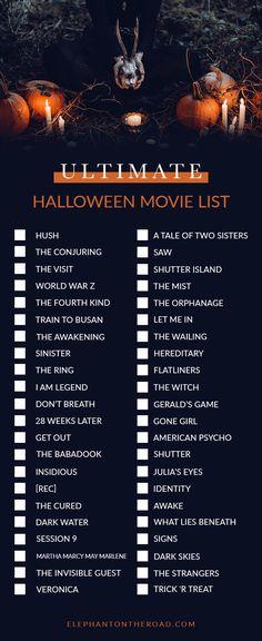The Perfect Halloween Night In Ultimate Halloween Movie List. Halloween Night In. Elephant on the Road. Horror Filme The Perfect Halloween Night In + Ultimate Halloween Movie List Halloween Movies List, Halloween Movie Night, Halloween Tags, Halloween 2018, Scary Halloween, Halloween Horror Movies, Christmas Movies List, Adult Halloween, Halloween Bucket List