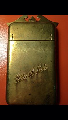 A personal favorite from my Etsy shop https://www.etsy.com/listing/246331078/vintage-rite-a-note-brass-holder-wall
