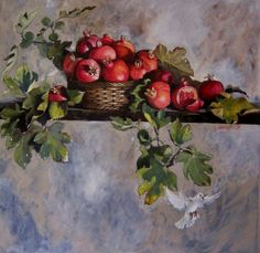 Watercolor Fruit, Fruit Painting, Watercolor Paintings, Pomegranate Art, Oil Painting Pictures, Still Life Art, Fruit Art, Arte Floral, Australian Artists