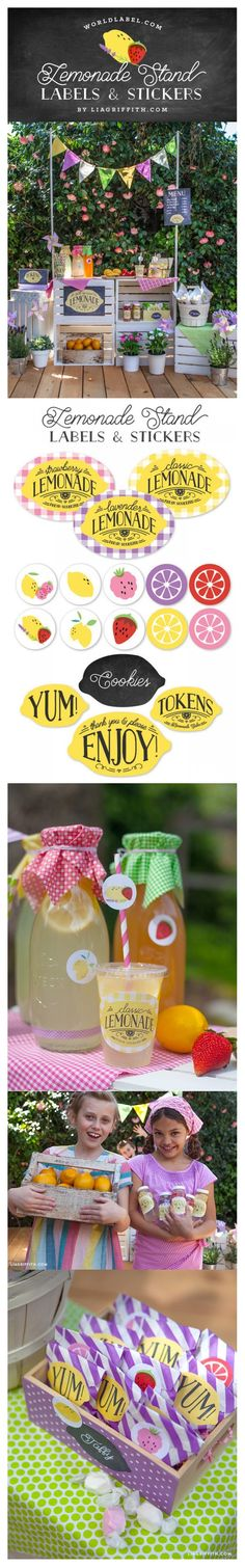 This adorable label set has been designed by the team at Lia Griffith for a handcrafted children's lemonade stand party. They have shared bright and colorful designs for your lemonade cups, bottles… Theme Ideas, Party Ideas, Party Labels, Lemonade, Diy, Cricut, Parties, Table Decorations, Tags