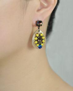 $105 Handmade Yellow Resin Swarovski Crystals Teardrop Earrings by Miss Julie  Shop here: http://www.trendcy.com/handmade-yellow-resin-swarovski-crystals-teardrop-earrings/
