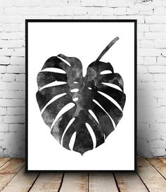 Monstera print, Watercolor art, Scandinavian design, bohemian art, monstera poster, black and white, botanical print, wall decor, minimalist