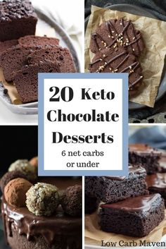 20 of the most decadent chocolate keto desserts for low carb diets. These delicious sugar-free desserts are also gluten-free and 6 net carbs and under!  #lowcarb #keto #glutenfree #lowcarbdessert #ketodessert #sugarfreedessert #lowcarbchocolatedessert #ketochocolatedessert #sugarfreechocolatedessert #chocolate #chocolatedessert #mothersday #mothersdaydessert #lowcarbmothersdaydessert #ketomothersdaydessert