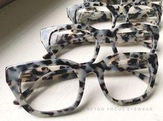 Salt & Pepper Grey Tortoise Hornrim Eyeglasses.  Prescription friendly thick, chunky acetate frames.  Available as reading glasses or Eyeglass Frames.  Available also in tortoise and black.