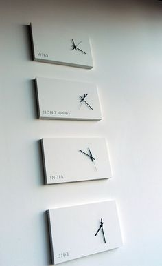 International time design, wall clocks, WHQ, Hong Kong, In… Clock Art, Diy Clock, Time Zone Clocks, Concrete Furniture, Furniture Design, Plywood Furniture, Chair Design, Modern Furniture, World Clock
