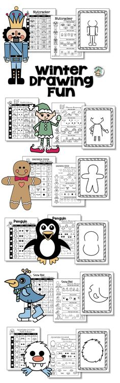 Are you looking for winter drawing ideas to keep your art activities from looking cookie cutter!  This drawing packet will give your students inspiration for your next gingerbread man activity, penguin craft, nutcracker activity, elf craft and more!  Kids love all the choices! #wintercrafts #winterartlesson #nutcracker #gingerbreadman #penguin #elf