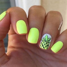 Gel Nails Nail trends Cute and bright neon yellow summer nails with hand-drawn pinea. Nail trends Cute and bright neon yellow summer nails with hand-drawn pineapple. Lemonade from the Gel Bottle Inc. Bright Summer Nails, Cute Summer Nails, Cute Nails, Nail Summer, Nails Summer Colors, Classy Nails, Nails Yellow, Neon Nails, My Nails