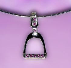 The Gorgeous Horse Jewelry!  - English Stirrup with Pink CZ JET3808SSPCZ