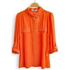 Orange Single Breasted Pockets Chiffon Shirt ($33) ❤ liked on Polyvore