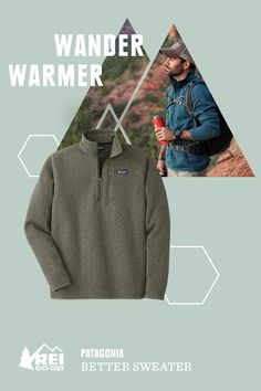 This pullover is a multitasking hero. It's good on the trail, in town and as a go-to layer all week long. This soft fleece features a handsome sweater-knit face and warm fleece interior. Like a sweater--only better. The Men's Patagonia Quarter-Zip Better Sweater has micropolyester jersey trim on the cuffs, hem and back of neck.