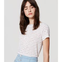 LOFT Petite Striped Boatneck Tee ($35) ❤ liked on Polyvore featuring tops, t-shirts, whisper white, striped t shirt, stripe t shirt, petite tops, white tee and striped tee
