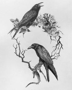 Drawing Roses ➕TGIF➕ This print now available in my big cartel! This was my first drawing of 2018 and will be one of over 20 drawings and a few… - Crow Art, Raven Art, Hugin Munin Tattoo, Body Art Tattoos, Fox Tattoos, Phoenix Tattoos, Tree Tattoos, Elephant Tattoos, Hand Tattoos