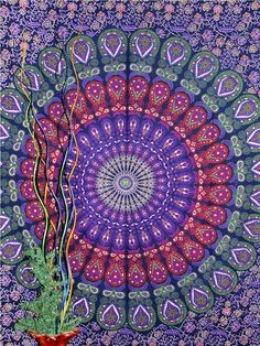 Hippie Mandala Tapestry wall hanging boho by JaipurArtandCreation