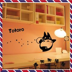 gratis verzending japanse cartoon Totoro chinchilla muurstickers glas stickers wandbekleding home decor 22 kleuren kiezen wsct099