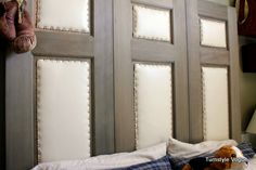 upcycle old doors for a headboard..upholster and add some nail head trim!  @Leanne Penny This would be fabulous with some of those old doors at the Salvage yard!