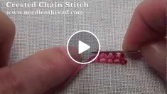 How to Make the Crested Chain Stitch in Hand Embroidery. For more information on the crested chain stitch or other hand embroidery stitches, visit Needle 'n Thread: www.needlenthread.com