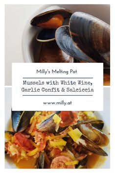 Mussels with white wine, garlic confit & salciccia - Milly's Melting Pot Summer Grilling Recipes, Summer Recipes, Winter Recipes, Lunch Recipes, Appetizer Recipes, Healthy Recipes, Belgian Food, Best Seafood Recipes, Fusion Food