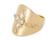 Polly Wales Kite Shield Ring, diamonds and 18k gold. Via pollywales.com