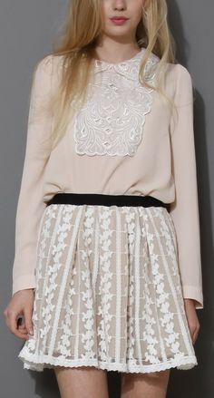 Pearly Embellished Cut Out Collar Chiffon Top