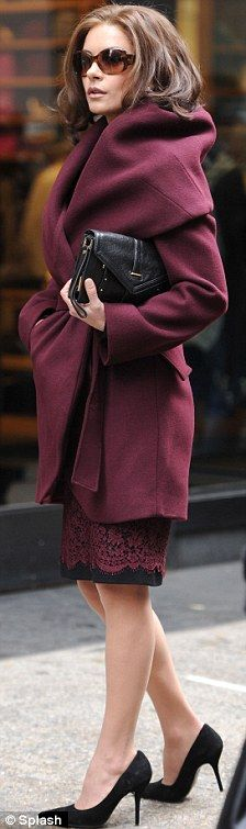 Beauty in burgundy: Catherine looked stunning in a chic coat, matching patterned skirt and black heels