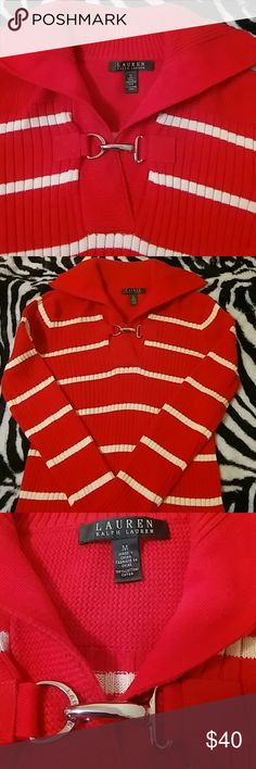 Ralph Lauren Sweater Ralph Lauren ,with buckle toggle collared ribbed sweater. Used just once. Ralph Lauren Sweaters V-Necks