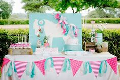 Pink and Teal Pony themed birthday party with So Many Cute Ideas via Kara's Party Ideas KarasPartyIdeas.com #ponyparty #ponypartyideas #part...
