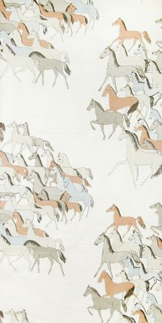 Free Spirit Linen Fabric Cream Linen fabric with illustrated Wild horse design in mute brown blues and greys