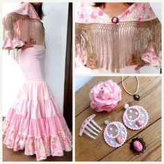 Traje de flamenca canastero tonos rosas