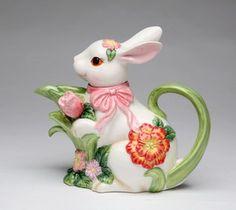 ウサギ型のティーポッですっ。ト:Blossom Bunny Porcelain Teapot