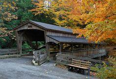 Lanterman's Mill Covered Bridge, Youngstown, Ohio. Mill creek Park. Looks so pretty.