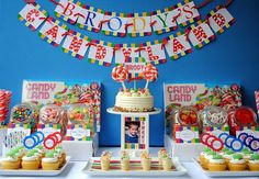 Candyland Party:  Candy Mountain:  Let's face it — in Candyland, the sweets are the center of attention. Cover every inch of the table with jars and cake stands full of the sugary stuff, and decorate with a personalized banner.